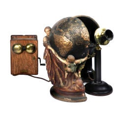 1910 Hid-A-Phone Desk Sculpture plus Telephone