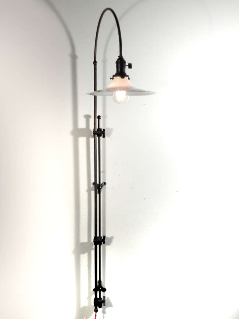 Wall Mount Hanging Lamp : Adjustable Arched Wall-Mounted Lamp at 1stdibs
