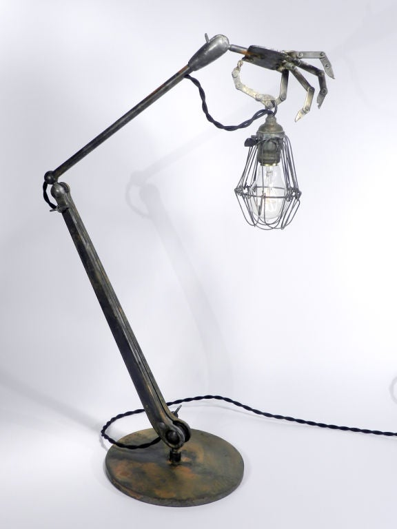 Brass Striking and Bizarre Hand Table Lamps For Sale