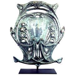 Original Art Nouveau Paris Metro Shield by Hector Guimard