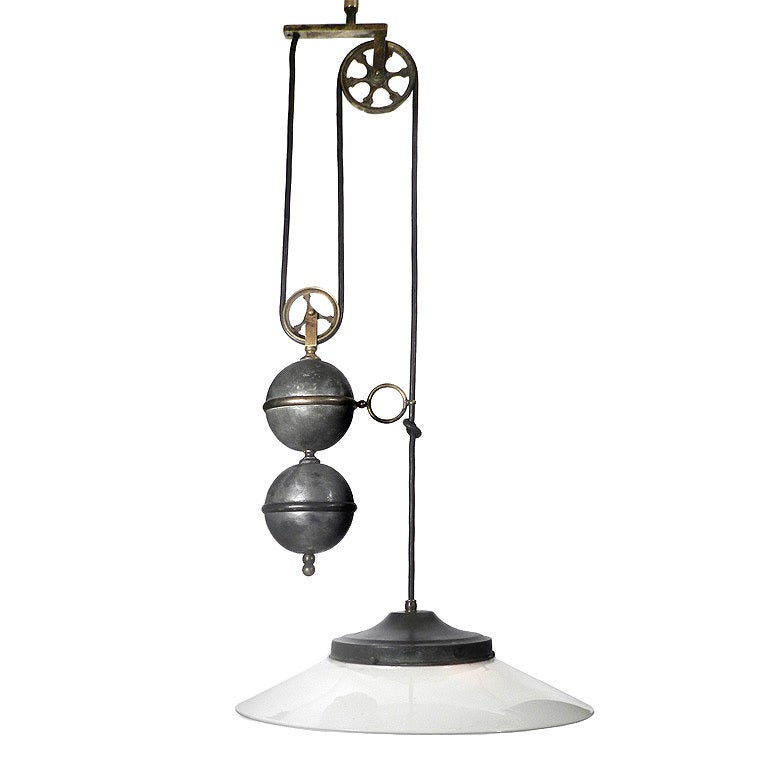 Large Ornate Vertical Pulley Lamp At 1stdibs