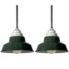 Matching Pair of Green Porcelain Industrial Pendents