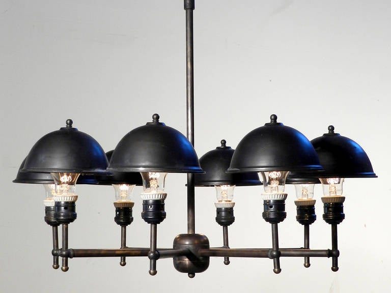 Industrial Impressive Eight-Lamp Greist Mini Hooded Chandelier For Sale