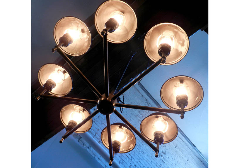 American Impressive Eight-Lamp Greist Mini Hooded Chandelier For Sale