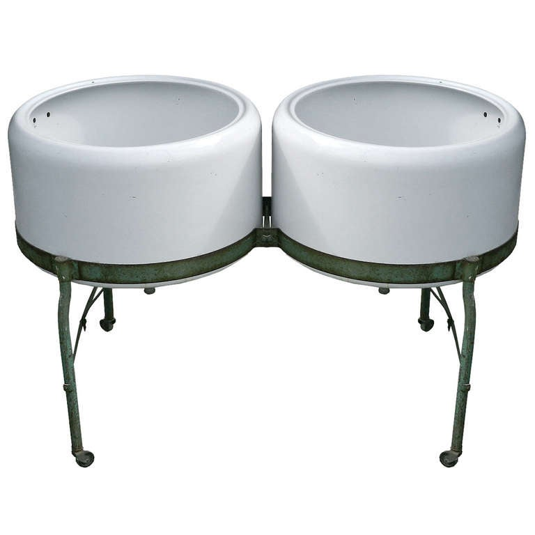 Double Wash Tub : Double Porcelain Wash Tubs at 1stdibs