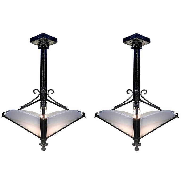 Matching Pair of Wrought Iron Art Deco Chandeliers 1