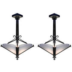 Matching Pair of Wrought Iron Art Deco Chandeliers