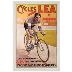 Vintage Bicycle Poster, Cycles Lea, France