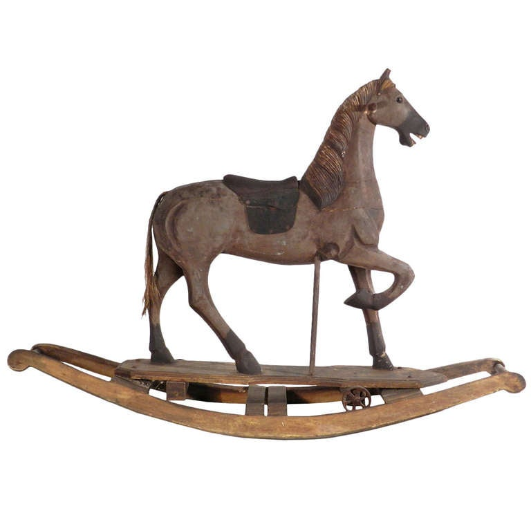 Wooden Rocking Horse ~ S carved wooden rocking horse