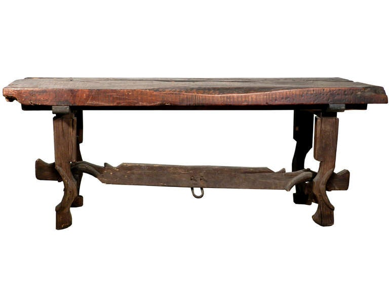 Rustic Farm Table   Legs And Stretcher From Tandem Horse Bow 2