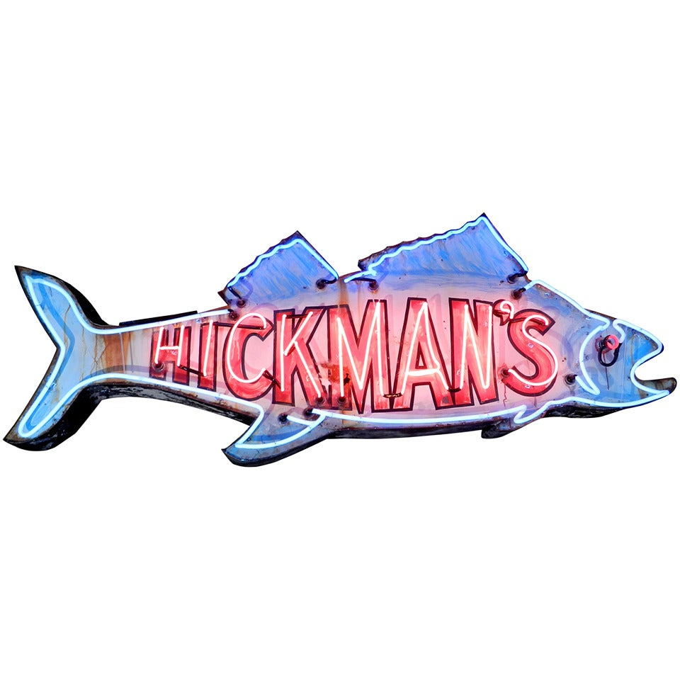 Landmark neon fish sign at 1stdibs for Fish neon sign