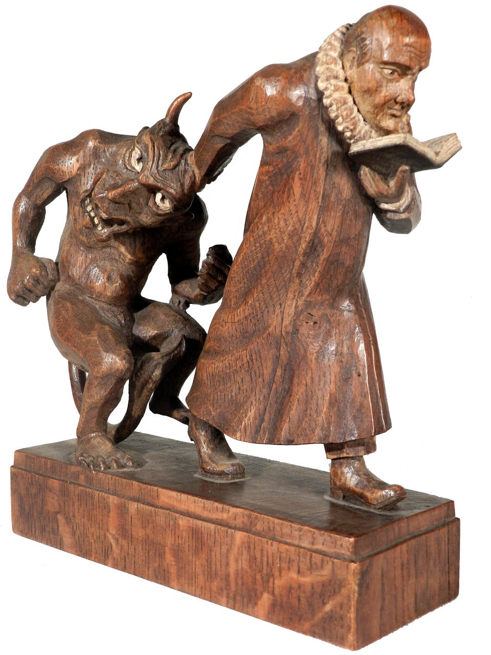 Black Forest Monk and Devil Carving at 1stdibs