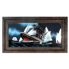 """Sinking Titanic"" Painting, Reverse Painted Glass"