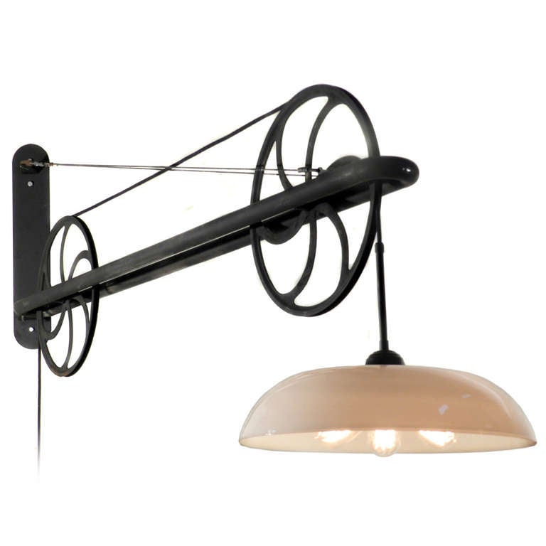 new arrival 31a09 70a04 Large Pulley Industrial Swing Arm Lamp