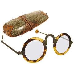 Antique Chinese Ox Horn Eyeglasses - Shagreen Case