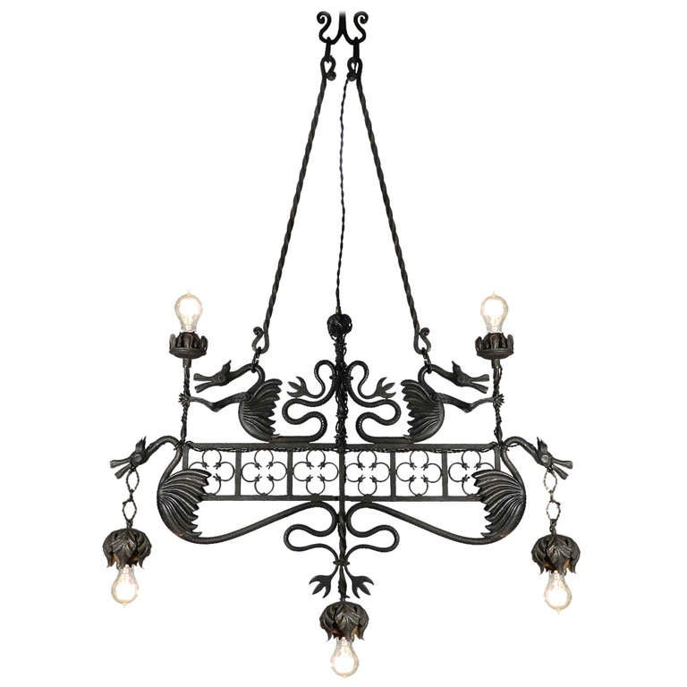 Hand Wrought Iron Dragon Chandelier at 1stdibs