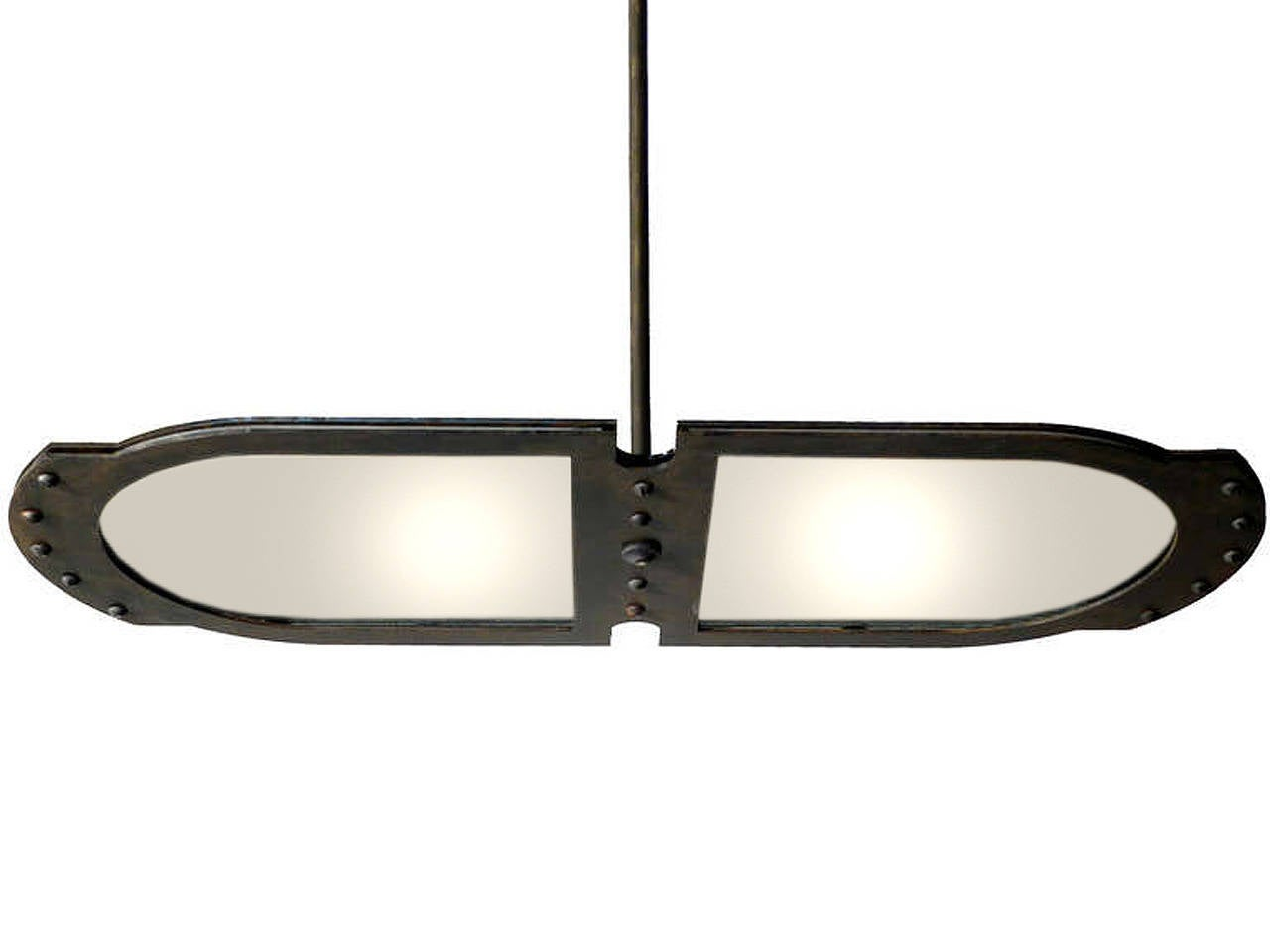 Large Double-Plate Frosted Glass Pendent 2