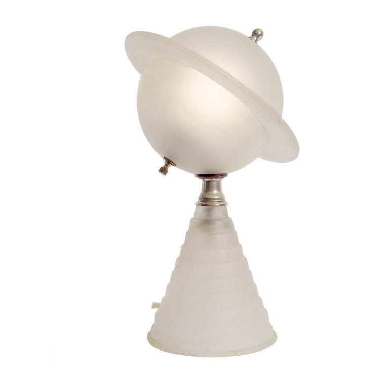 1939 Worlds Fair Frosted Glass Saturn Lamp. at 1stdibs