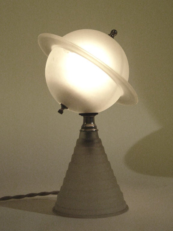 1939 Worlds Fair Frosted Glass Saturn Lamp At 1stdibs