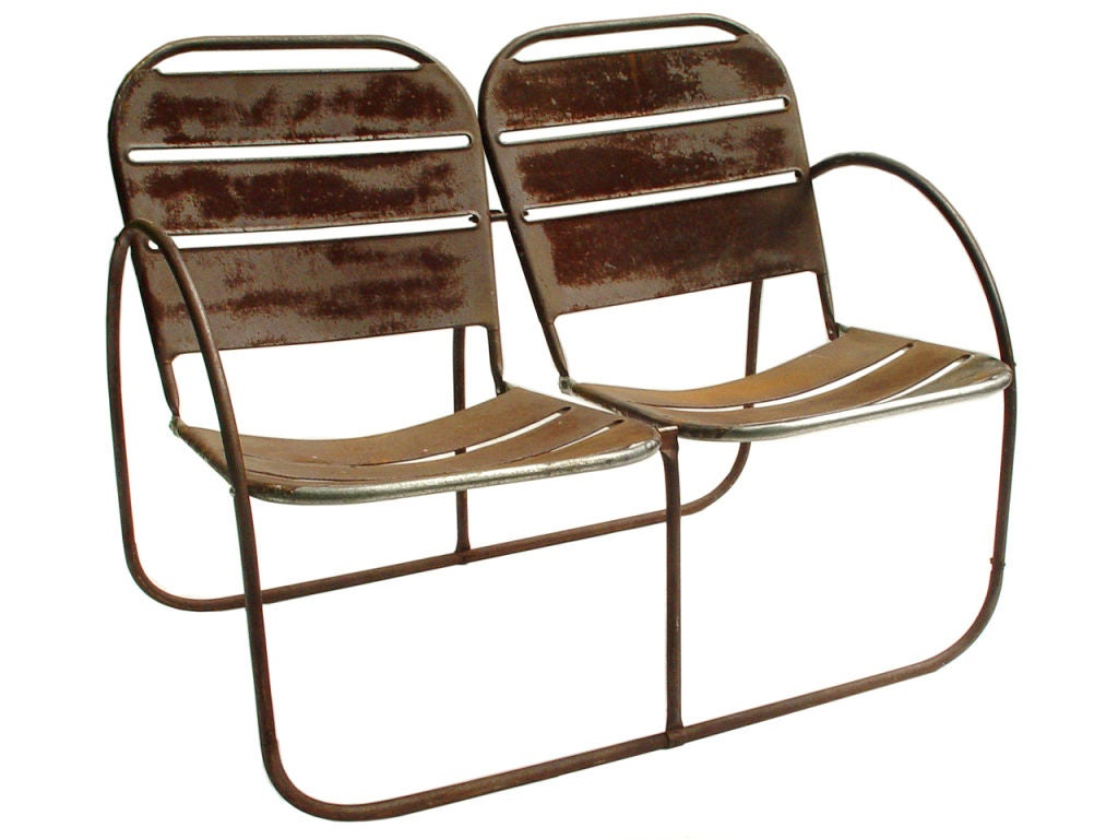 Early Pressed Steel And Tube Love Seat At 1stdibs