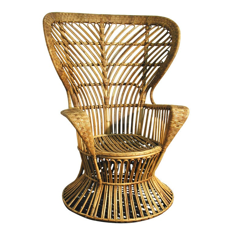 A High Wingback Wicker Chair at 1stdibs