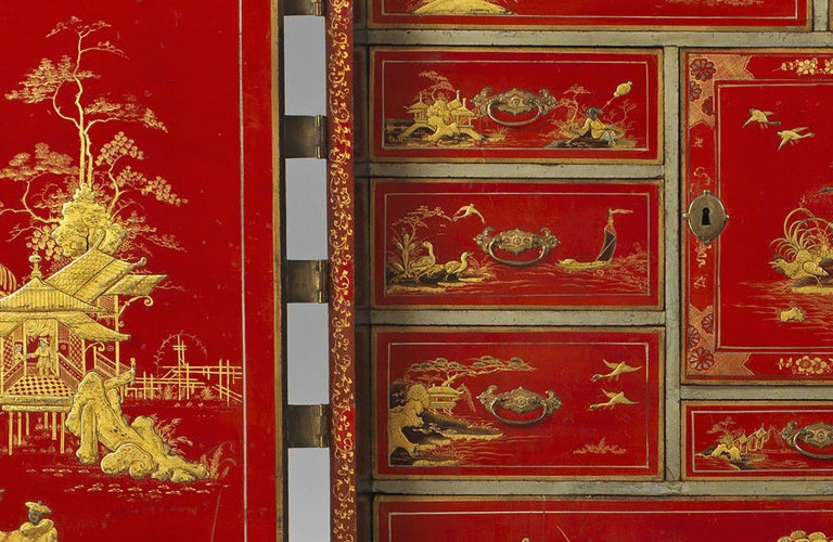 Hand-Crafted Early 18th Century Chinese Red Lacquer Cabinet on a Giltwood Stand For Sale