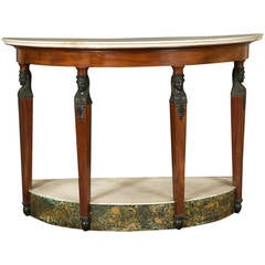Mahogany and Faux Bronze Demilune Pier Table in the Retour D'Egypt Taste