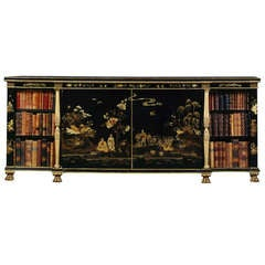 A Black Lacquer Papier Mâché Side Cabinet of Attributed to Henry Clay