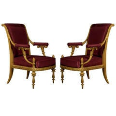 A Pair of Giltwood Armchairs by Danhauser for the Archduke Karl's Palace