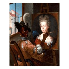 Black Artist Completing A Portrait Of A White Female Aristocrat