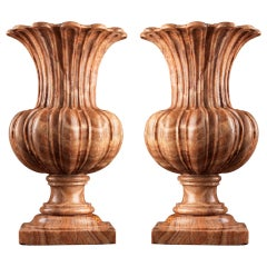 Massive Pair Of Carved Alabastro Fiorito Vases Of Unusual Form