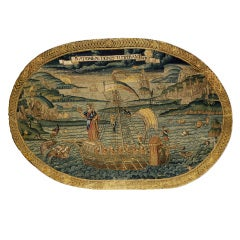 A Rare Needlework Panel Depicting Henri II Standing At The Head Of A Galley