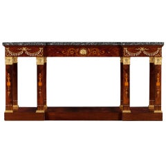 An Imposing Mahogany and Thuyawood Neoclassical Side Table