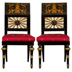 Pair of Giltwood and Ebonized Neoclassical Side Chairs with Penwork Decoration