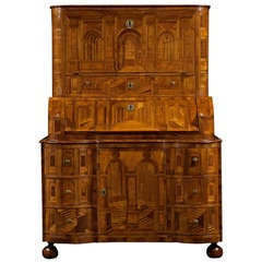 Bureau Cabinet Profusely Decorated With Architectural Perspective Marquetry
