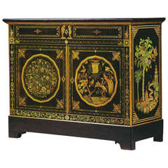 Exquisite Louis Philippe Polychrome Lacquer Two Door Cabinet by Chifflot