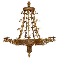 Magnificent Giltwood Seven-Light Chandelier