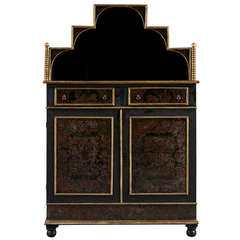 An Ebonized And Giltwood Side Cabinet Set With Etruscan Painted Tole Panels