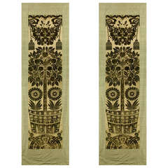 A Pair Of Silk Velvet Hanging Panels Depicting Orange Trees And Sun Flowers