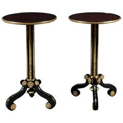 Pair of Ebonized, Pewter Inlaid and Gilt Brass Mounted Tripod Tables