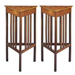 Pair of 'Bombay Secessionist' Inlaid Palmwood Center Tables