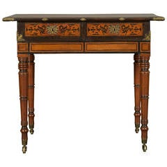 Regency Mahogany Center Table Incorporating an Indian Inlaid Padouk Top