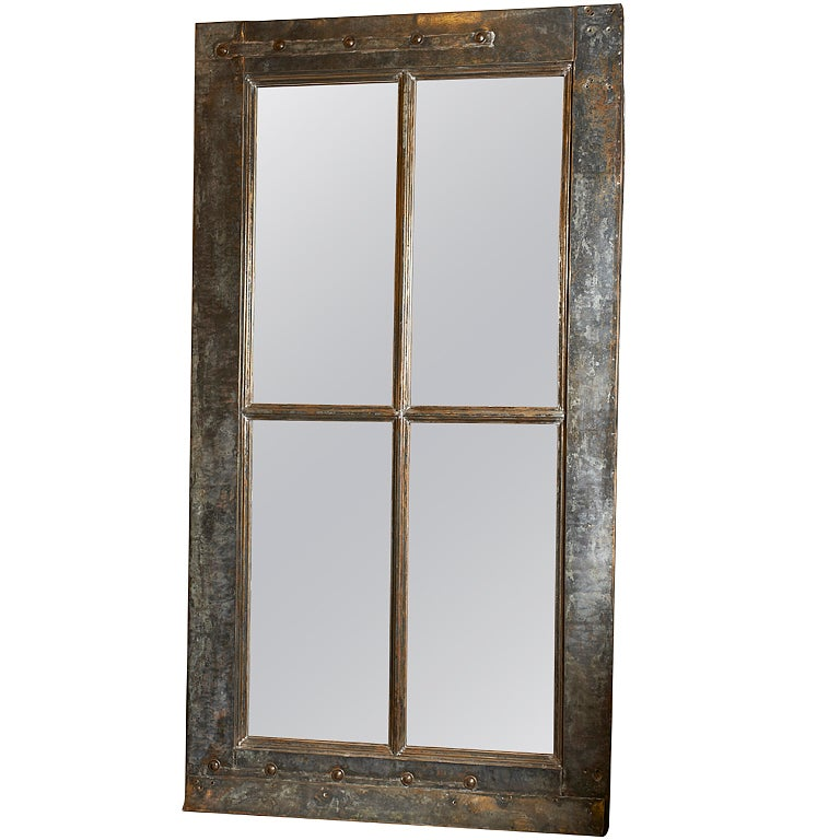 Zinc clad window frame c 1900 now with mirror glass at for Window mirrors for sale