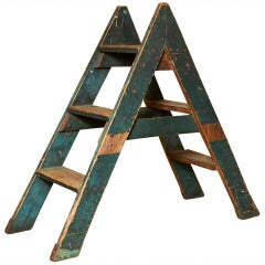 Vintage painted step ladder, early 20th c.