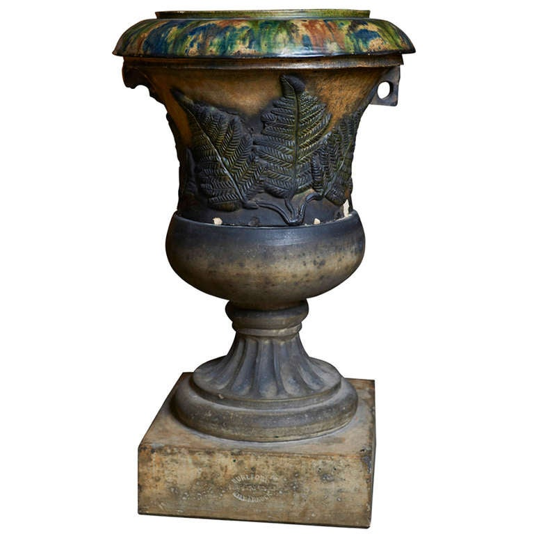 Scottish Glazed Terracotta Garden Urn on Plinth ca. 1880 1
