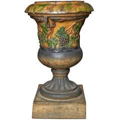 Scottish Glazed Terracotta Garden Urn on Plinth ca. 1880