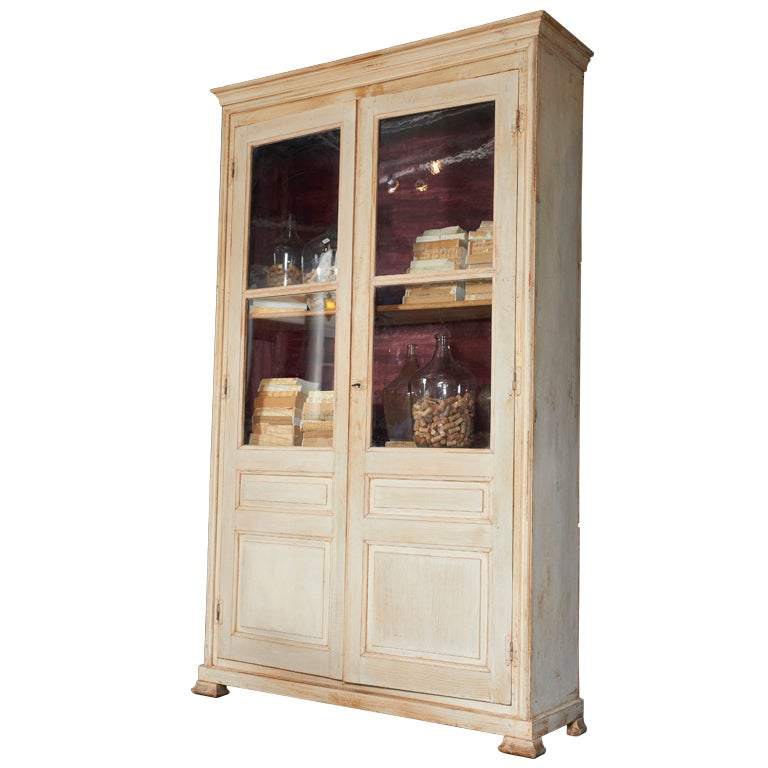 19th Century French Painted Pine Bibliotheque For Sale