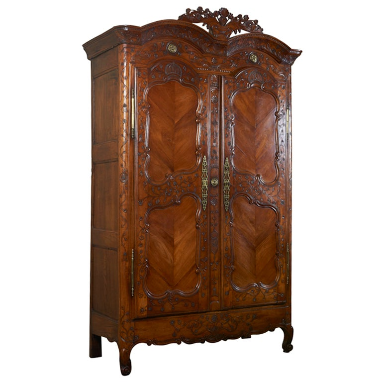 french fruitwood armoire c 1837 at 1stdibs. Black Bedroom Furniture Sets. Home Design Ideas