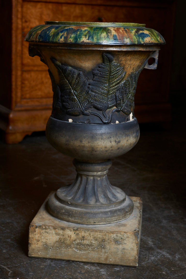 Scottish Glazed Terracotta Garden Urn on Plinth ca. 1880 2