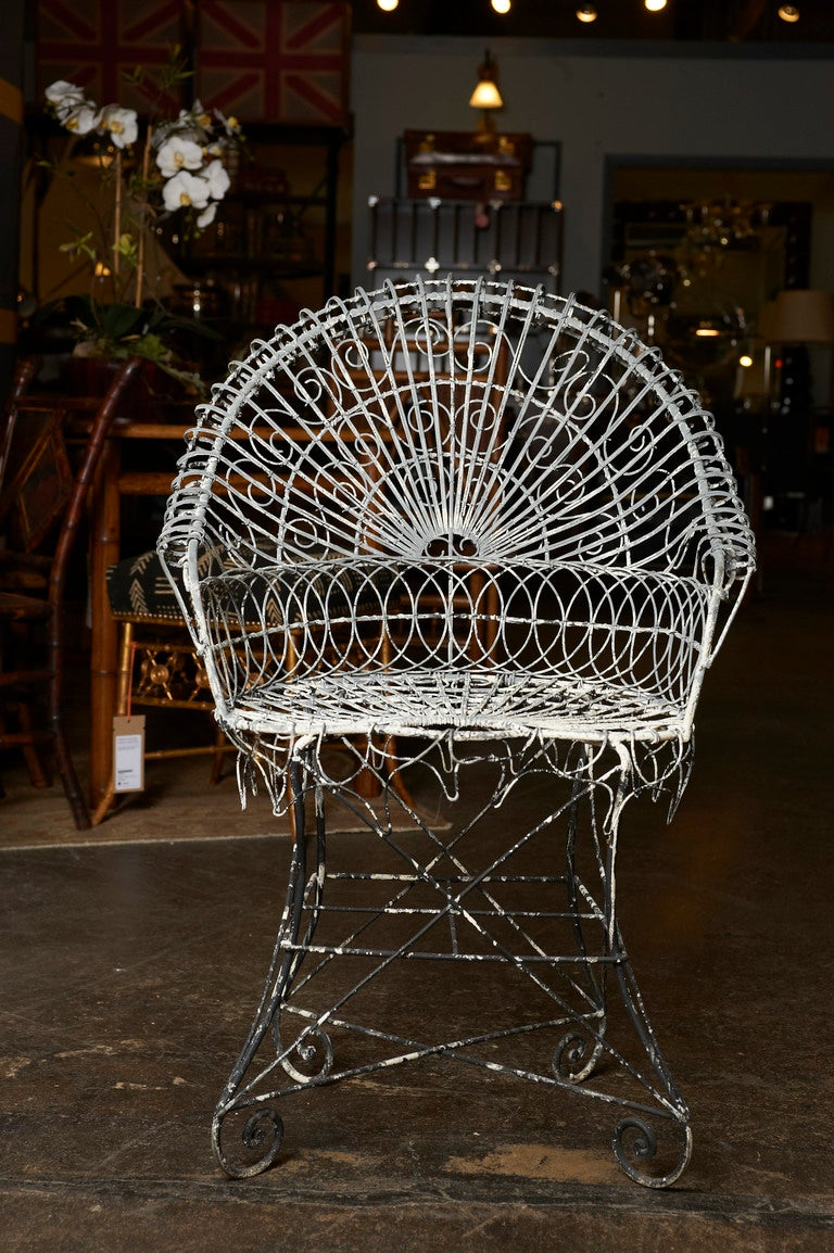 French Wire Garden Chair C 1940 At 1stdibs